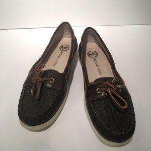 Michael Kors Women's Monogram Loafers Leather Shoe